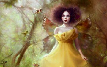 арт, деревья, фея, птички, крылышки, ruoxing zhang, желтое платье, лесная нимфа