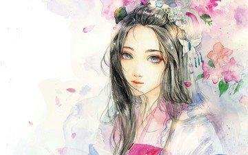 flowers, art, girl, watercolor, sinvia