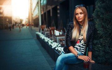 свет, девушка, портрет, город, очки, модель, волосы, мария, кока-кола