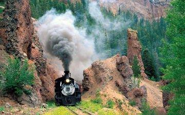 горы, железная дорога, рельсы, поезд, вагоны, паровоз