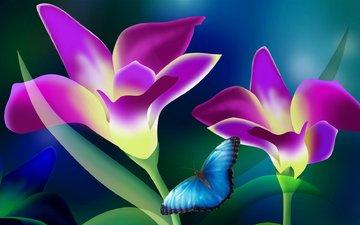 цветы, листья, фон, лепестки, бабочка, векторная графика