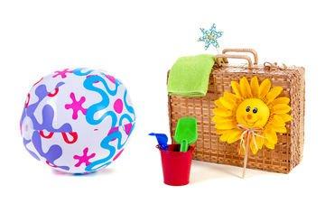 солнце, игрушки, мяч, чемодан