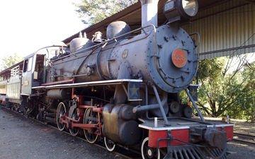 железная дорога, рельсы, поезд, паровоз