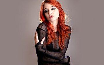 девушка, портрет, взгляд, модель, лицо, макияж, длинные волосы, рыжеволосая