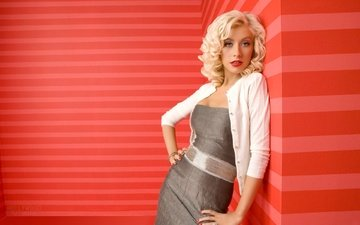 line, dress, blonde, look, wall, jacket, singer, christina aguilera