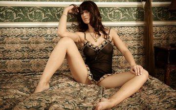 девушка, сидит, ножки, кровать, нижнее белье