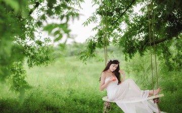 девушка, брюнетка, яблоко, качели, азиатка, невеста, свадебное платье