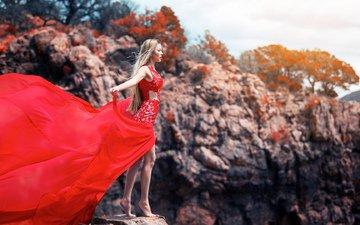 девушка, платье, красное