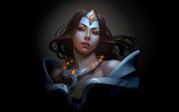 art, girl, black background, necklace, dota 2, video games, mirana, princess of the moon
