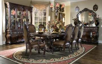 interior, table, mirror, house, chandelier, chairs, the room