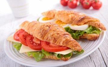 бутерброд, сыр, помидоры, круасан, круассан, помидорами