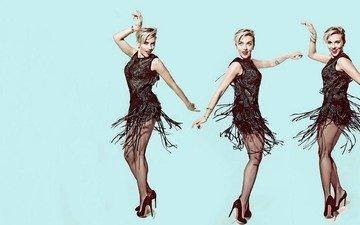 девушка, поза, блондинка, взгляд, модель, ножки, лицо, актриса, скарлет йохансон, черное платье, высокие каблуки