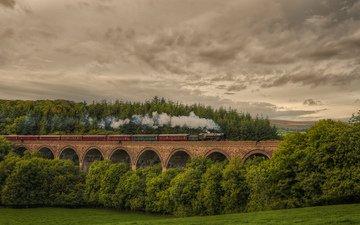 небо, железная дорога, природа, лес, тучи, мост, англия, поезд, локомотив, паровоз, cornwood viaduc, состав