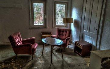стол, комната, кресло, окно, пыль, заброшенное
