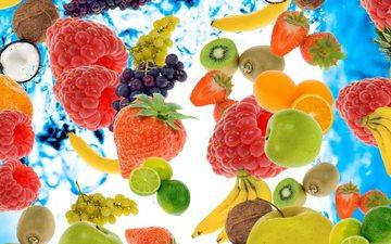 виноград, малина, фрукты, апельсины, клубника, ягоды, яблоко, лайм, киви, банан, кокос, ананас