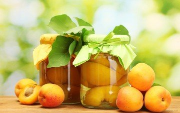 фрукты, стол, листики, банки, абрикосы, компот, консервирование