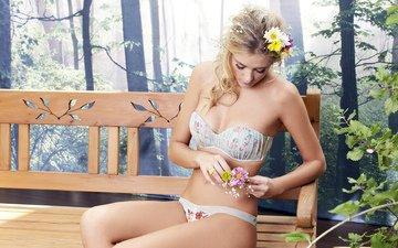 цветы, девушка, скамейка
