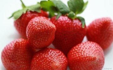 макро, красная, клубника, спелая, ягоды, сладкая, вкусная
