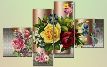 flowers, figure, background, roses, tile