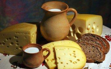 сыр, кружка, хлеб, молоко, кувшин, нарезка