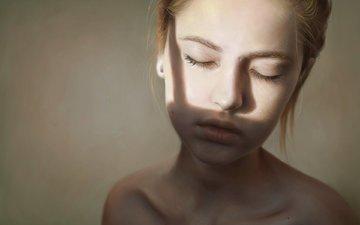 арт, девушка, рыжая, шея, закрытые глаза, elena sai