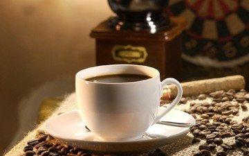 зерна, кофе, стол, кружка, чашка, напитки, тарелка, ложечка