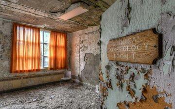 шторы, стул, комната, стены, окно, заброшенное