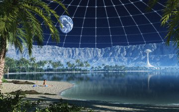 lake, mountains, rocks, earth, space, beach, planet, the moon, coast, crater, satellite, 3d, zd