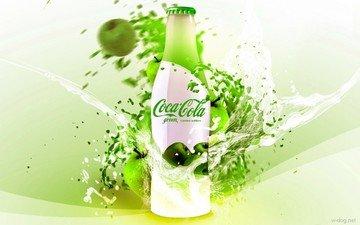 зелёный, напиток, графика, яблоко, бутылка, кока-кола, кола, эппл