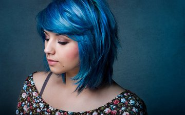 девушка, портрет, модель, волосы, лицо, синие волосы, lia curtis