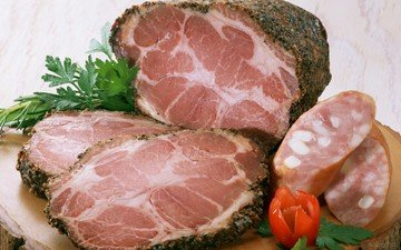 мясо, колбаса, петрушка, буженина