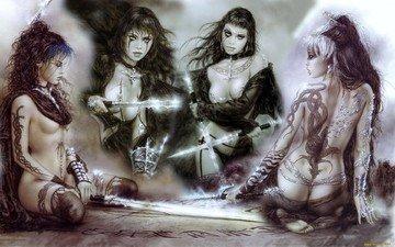 girls, tattoo, swords, luis royo
