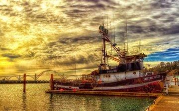 небо, облака, закат, горизонт, мост, корабль, пирс, рыболовное судно