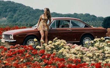 цветы, девушка, поза, машина, ретро, модель, автомобиль, lancia
