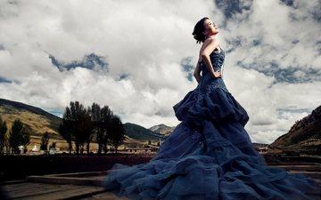 облака, девушка, взгляд, модель, профиль, лицо, азиатка, фотосессия, синее платье