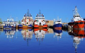 вода, отражение, корабли, город, австралия, порт, судна, fremantle, фримантл