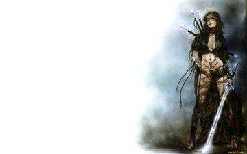 girl, sword, tattoo, luis royo