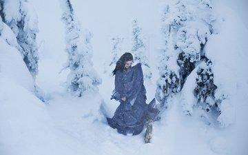 снег, зима, девушка, модель, елки, метель, заяц, lichon