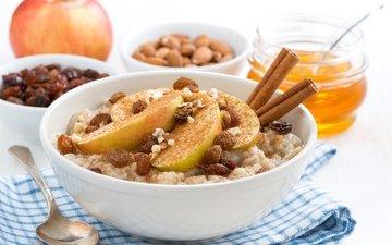 орехи, корица, яблоко, мед, каша, изюм, овсянка