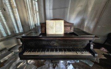 ноты, музыка, комната, пианино, клавиши, рояль, музыкальный инструмент