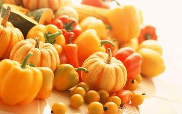 овощи, помидоры, тыква, перец