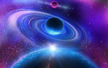 космос, звезды, планета, галактика, туманность, вселенная, пространство, круг, вихрь