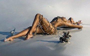 girl, sand, mesh, network