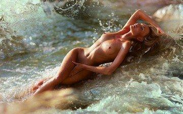 девушка, море, брызги