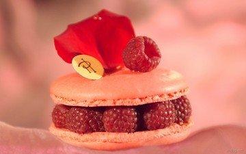 фон, малина, ягода, еда, сладкое, печенье, пирожное, начинка