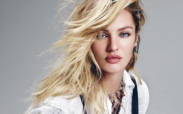 девушка, блондинка, портрет, взгляд, модель, лицо, голубые глаза, кэндис свейнпол