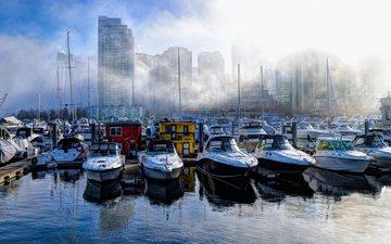 туман, город, лодки, дома, ванкувер, канада, гавань, угольный порт