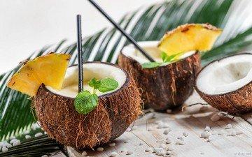 мята, напиток, коктейль, кокос, ананас, пина колада