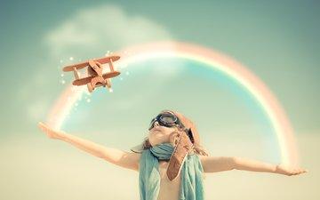 небо, самолет, пилот, радуга, дети, ребенок, руки, мечта