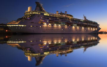 огни, вода, вечер, отражение, лайнер, круизный корабль